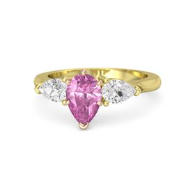 Pear Pink Sapphire 14K Yellow Gold Ring with White Sapphire