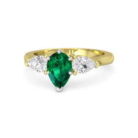 Pear Emerald 14K Yellow Gold Ring with White Sapphire