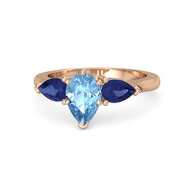 Pear Blue Topaz 18K Rose Gold Ring with Blue Sapphire