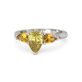 Pear Yellow Sapphire Palladium Ring with Citrine
