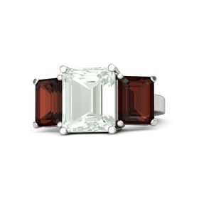 Emerald-Cut Green Amethyst 14K White Gold Ring with Red Garnet