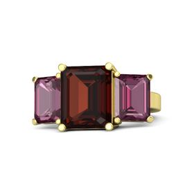 Emerald-Cut Red Garnet 14K Yellow Gold Ring with Rhodolite Garnet