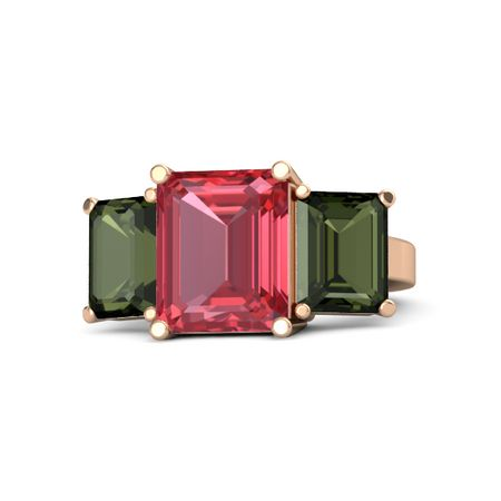 Emerald Cut Pink Tourmaline 18k Rose Gold Ring With Green