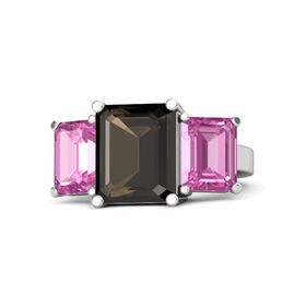 Emerald-Cut Smoky Quartz Sterling Silver Ring with Pink Sapphire