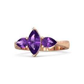 Marquise Amethyst 14K Rose Gold Ring with Amethyst