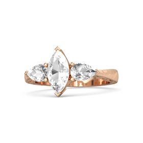 Marquise Rock Crystal 14K Rose Gold Ring with Rock Crystal