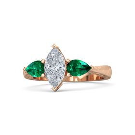 Marquise Diamond 14K Rose Gold Ring with Emerald