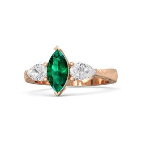 Marquise Emerald 14K Rose Gold Ring with White Sapphire