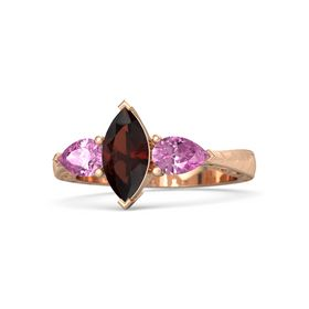 Marquise Red Garnet 14K Rose Gold Ring with Pink Sapphire