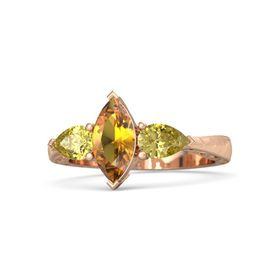 Marquise Citrine 14K Rose Gold Ring with Yellow Sapphire