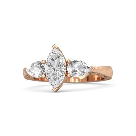 Marquise White Sapphire 14K Rose Gold Ring with Rock Crystal
