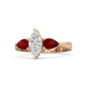 Marquise White Sapphire 14K Rose Gold Ring with Ruby