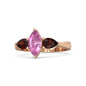 Marquise Pink Sapphire 14K Rose Gold Ring with Red Garnet