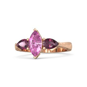 Marquise Pink Sapphire 14K Rose Gold Ring with Rhodolite Garnet