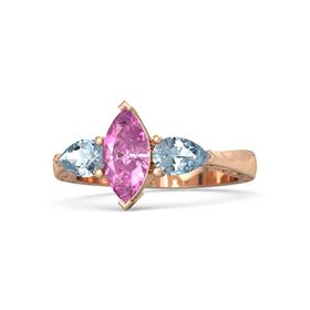 Marquise Pink Sapphire 14K Rose Gold Ring with Aquamarine