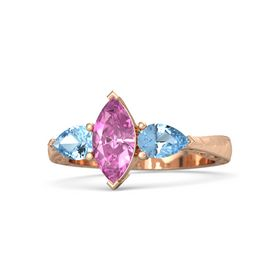 Marquise Pink Sapphire 14K Rose Gold Ring with Blue Topaz