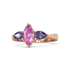 Marquise Pink Sapphire 14K Rose Gold Ring with Iolite
