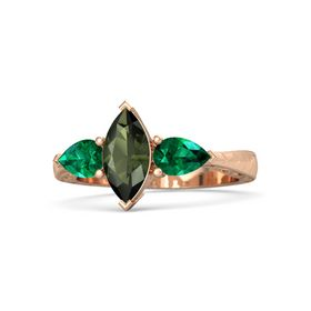 Marquise Green Tourmaline 14K Rose Gold Ring with Emerald