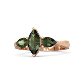 Marquise Green Tourmaline 14K Rose Gold Ring with Green Tourmaline