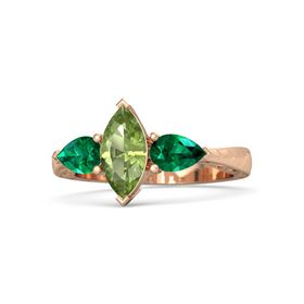 Marquise Peridot 14K Rose Gold Ring with Emerald