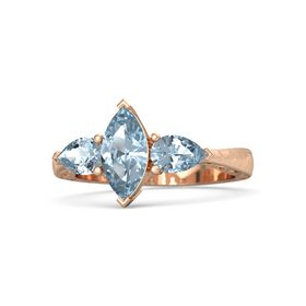 Marquise Aquamarine 14K Rose Gold Ring with Aquamarine