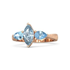 Marquise Aquamarine 14K Rose Gold Ring with Blue Topaz
