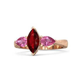 Marquise Ruby 14K Rose Gold Ring with Pink Tourmaline
