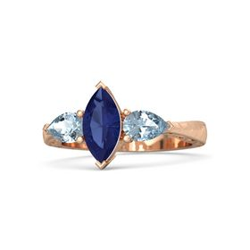 Marquise Sapphire 14K Rose Gold Ring with Aquamarine