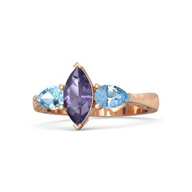Marquise Iolite 14K Rose Gold Ring with Blue Topaz