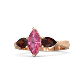 Marquise Pink Tourmaline 14K Rose Gold Ring with Red Garnet