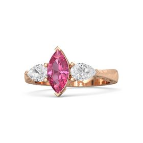Marquise Pink Tourmaline 14K Rose Gold Ring with White Sapphire