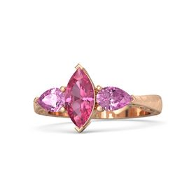 Marquise Pink Tourmaline 14K Rose Gold Ring with Pink Sapphire