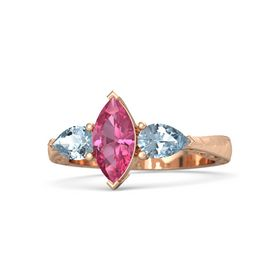 Marquise Pink Tourmaline 14K Rose Gold Ring with Aquamarine