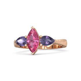 Marquise Pink Tourmaline 14K Rose Gold Ring with Iolite