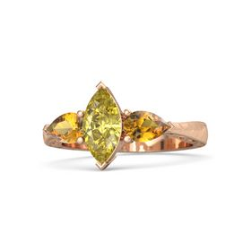 Marquise Yellow Sapphire 14K Rose Gold Ring with Citrine