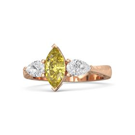 Marquise Yellow Sapphire 14K Rose Gold Ring with White Sapphire