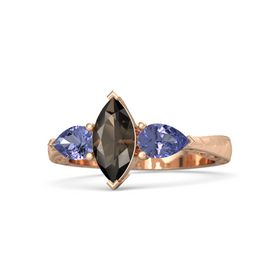 Marquise Smoky Quartz 14K Rose Gold Ring with Tanzanite