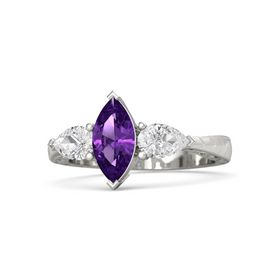 Marquise Amethyst 14K White Gold Ring with White Sapphire