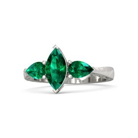 Marquise Emerald 14K White Gold Ring with Emerald