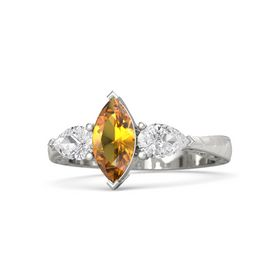 Marquise Citrine 14K White Gold Ring with White Sapphire