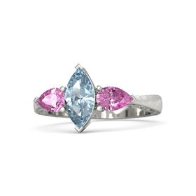 Marquise Aquamarine 14K White Gold Ring with Pink Sapphire