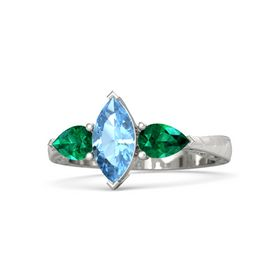 Marquise Blue Topaz 14K White Gold Ring with Emerald