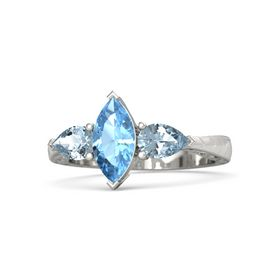 Marquise Blue Topaz 14K White Gold Ring with Aquamarine