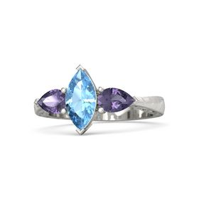 Marquise Blue Topaz 14K White Gold Ring with Iolite