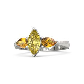 Marquise Yellow Sapphire 14K White Gold Ring with Citrine