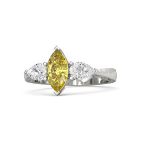 Marquise Yellow Sapphire 14K White Gold Ring with White Sapphire