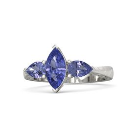 Marquise Tanzanite 14K White Gold Ring with Tanzanite