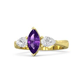 Marquise Amethyst 14K Yellow Gold Ring with White Sapphire
