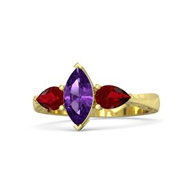 Marquise Amethyst 14K Yellow Gold Ring with Ruby