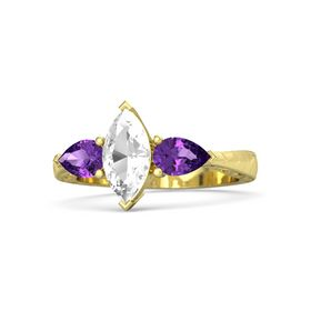 Marquise Rock Crystal 14K Yellow Gold Ring with Amethyst